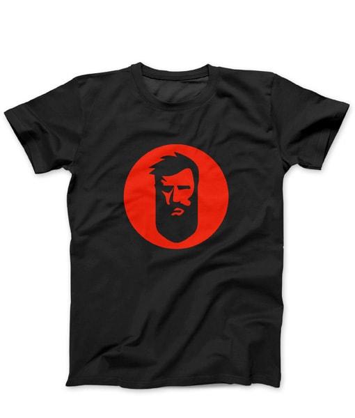 მაისური წვერი გე-ს ლოგოთი – შავი ფერის წითელი ლოგოთი