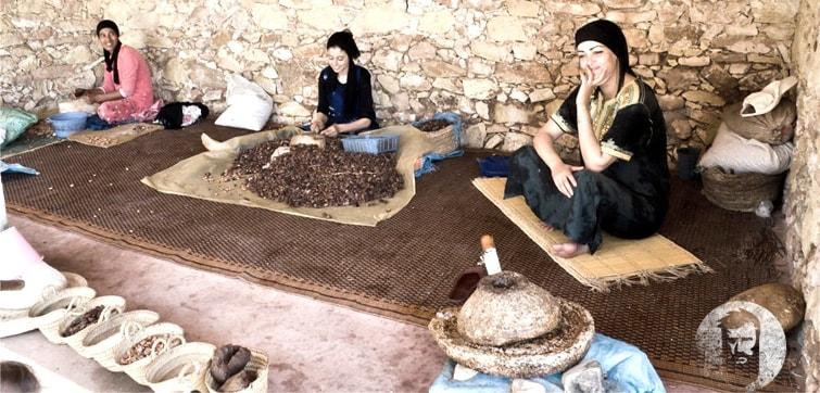არგანის ზეთის გამოხდის პროცესი მაროკოელი ქალების მიერ