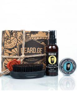 სასაჩუქრე კომპლექტი კაცისთვის წვერის ბალზამი ჯაგრისი და შამპუნი - Beard.ge