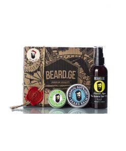სასაჩუქრე კომპლექტი ულვაშის ცვილი წვერის ბალზამი და შამპუნი - Beard.ge