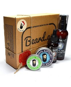 ულვაშის ცვილი წვერის ზეთი ბალზამი და შამპუნის ნაკრები სასაჩუქრედ - Beard.ge