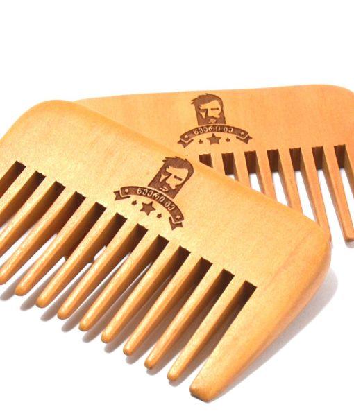 ხის სავარცხელი წვერისთვის განიერი კბილებით - Beard.ge