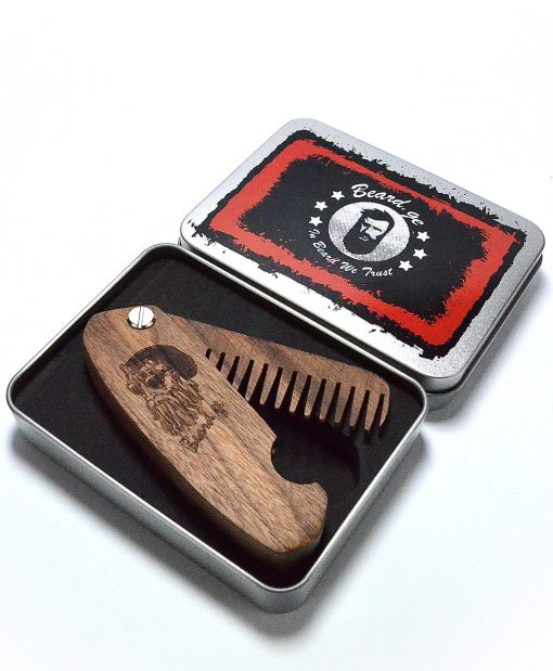 Pocket Comb Made by Walnut Wood With Metal Box Packaging - Beard.ge