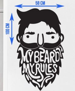 My Beard My Rules Sticker Zoomed - Beard.ge